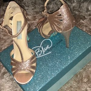 Blue By Betsey Johnson Glitter Champagne Heels